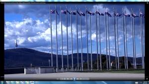 Flags&BlackMountainTower.ParliamentHouseCanberra&TheSun(C)NjRout918pm12thNovember2013.138
